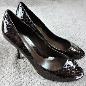 Enzo Angiolini pumps high heels brown patent snake